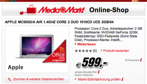 MacBook Air Aktion 600Euro