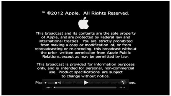 Apple iPad Keynote Video-Stream