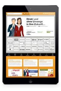 Die Startseite der App, die das Jobportal JobStairs für iPads mit einer Reihe von Features entwickelt hat.